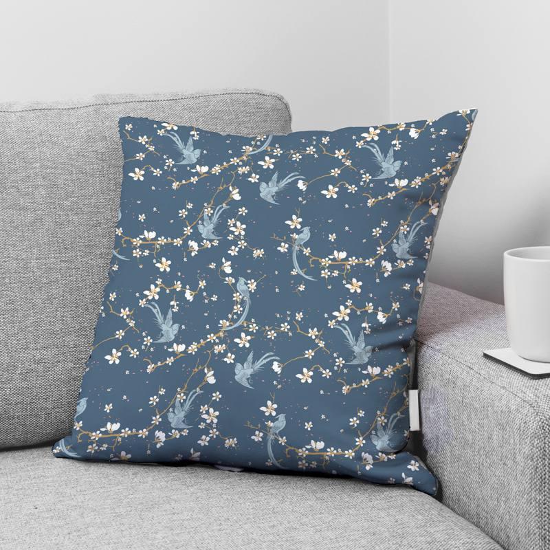 Coton bleu motif fleur de cerisier et oiseau