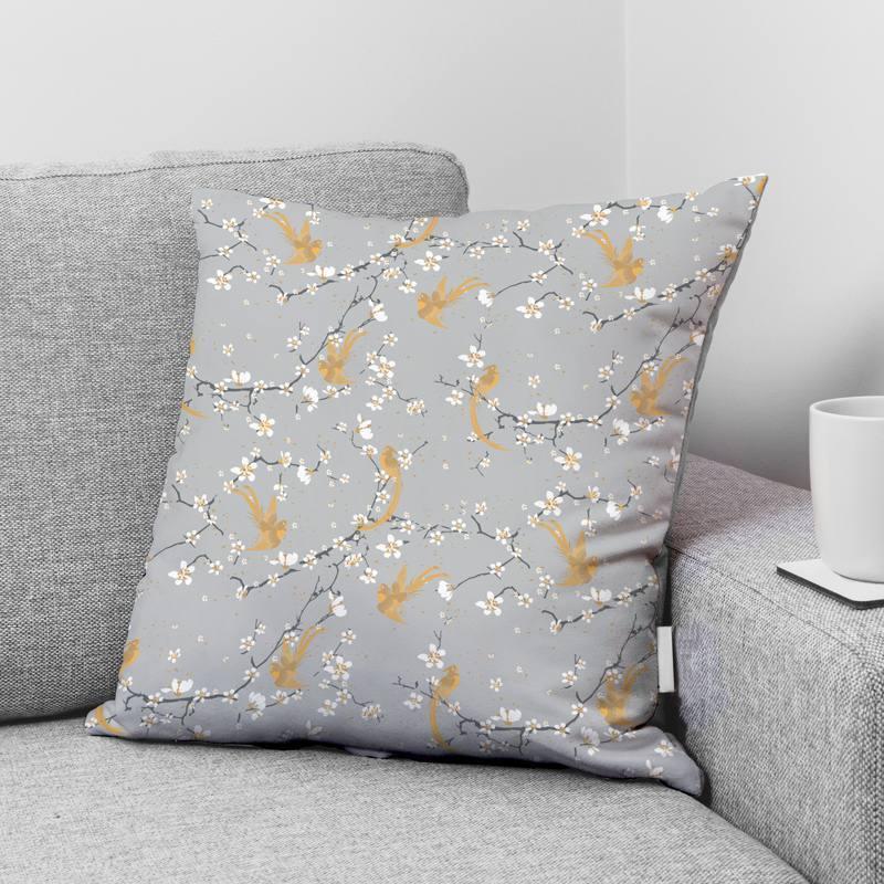 Coton gris motif fleur de cerisier et oiseau
