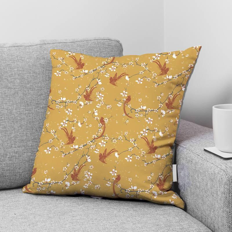 Coton ocre motif fleur de cerisier et oiseau