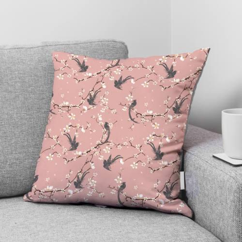 Coton rose motif fleur de cerisier et oiseau