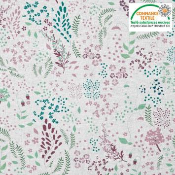Coton blanc motif fleurs champêtres roses et vertes