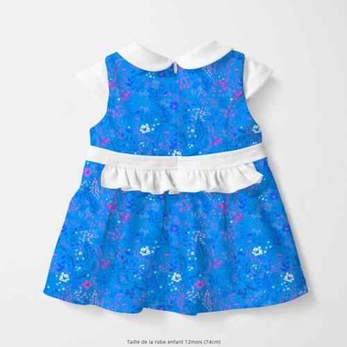 Coton bleu motif fleurs champêtres roses et bleues