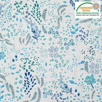 Coton blanc motif fleurs champêtres vertes et bleues