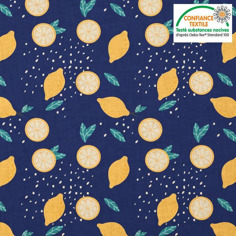 Coton bleu foncé motif citron jaune