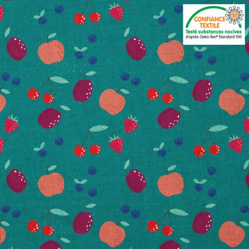 Coton vert canard motif fruits rouges