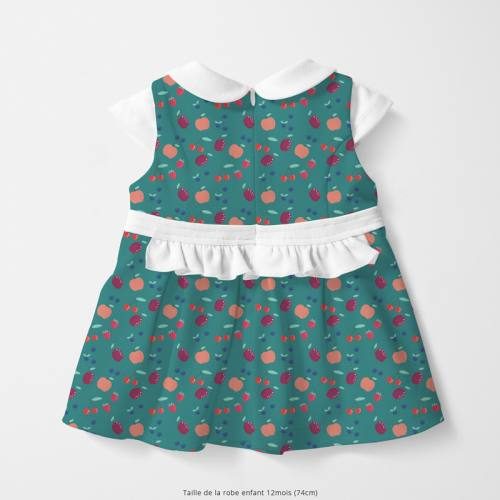 Coton vert canard motif fruits rouges