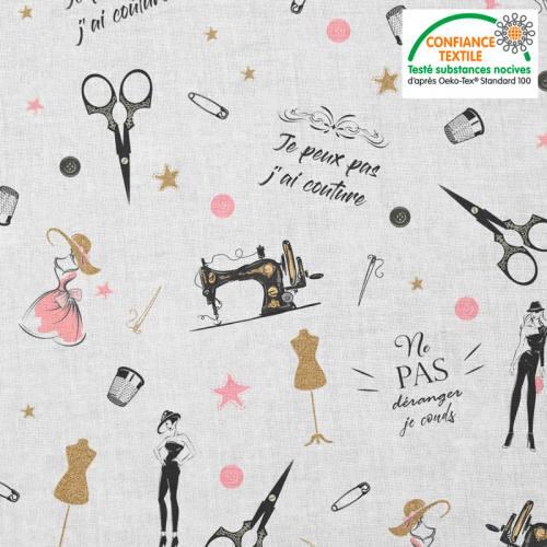 Coton blanc motif atelier de couture rose gold