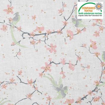Coton blanc motif fleur de cerisier rose et oiseau