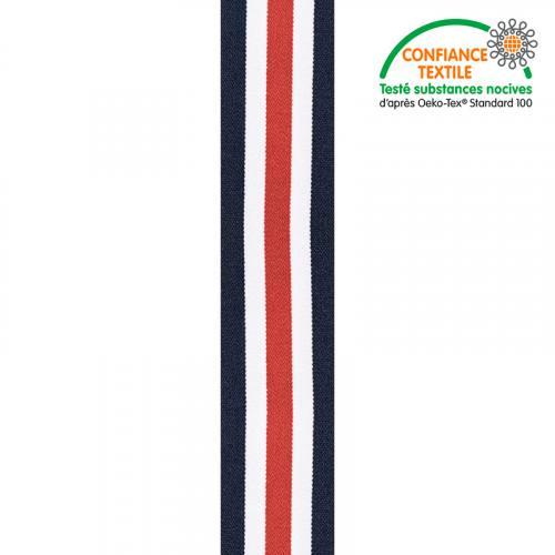 Elastique à bandes tricolore 40 mm