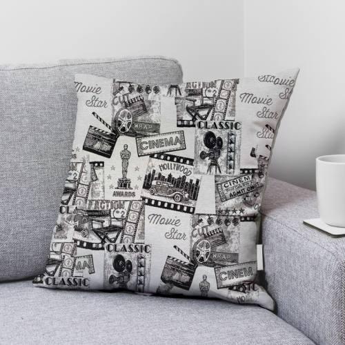 Coupon 50x68 cm - Jacquard blanc cassé et noir motif cinéma