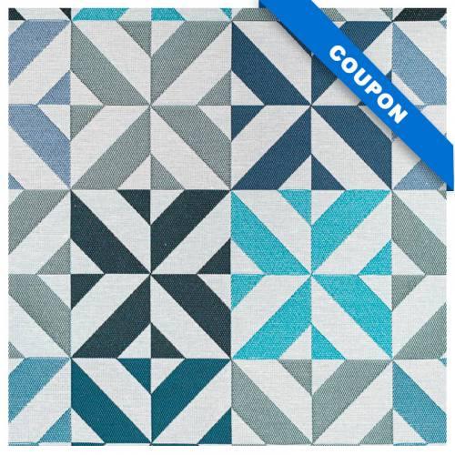 Coupon 50x68 cm - Jacquard bleu motif géométrique