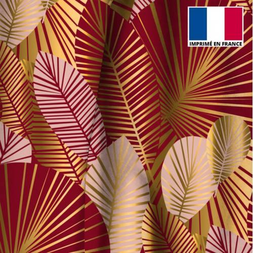Velours ras bordeaux motif feuilles art déco roses et or