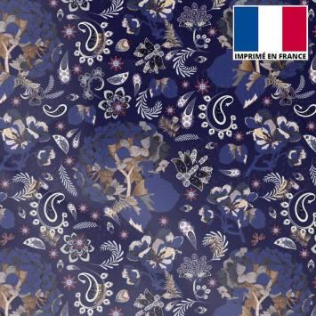Mousseline crêpe bleu nuit motif tableau floral
