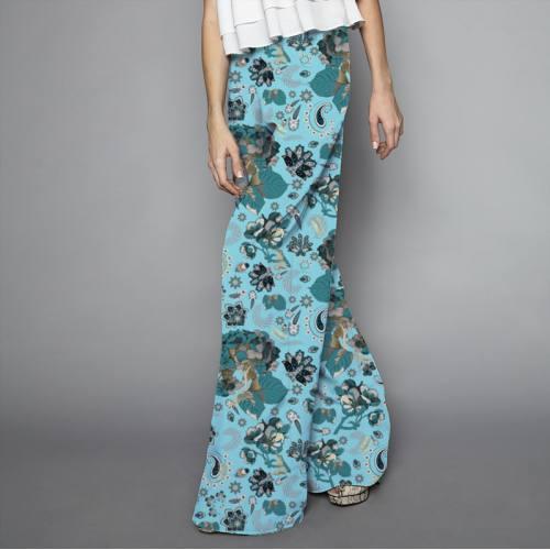 Satin bleu ciel motif tableau floral