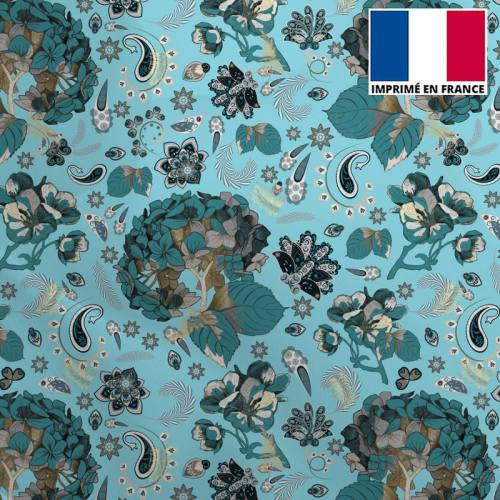 Mousseline crêpe bleu ciel motif tableau floral