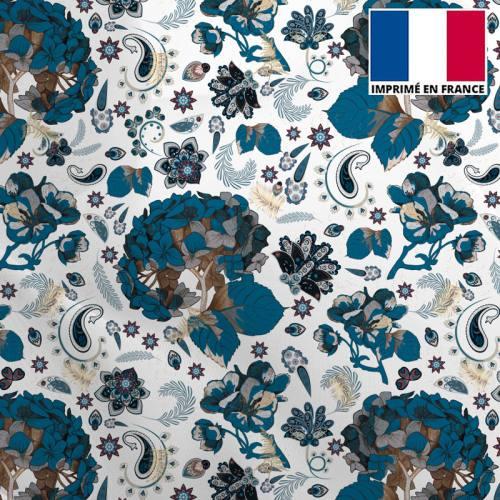 Mousseline crêpe écru motif tableau floral