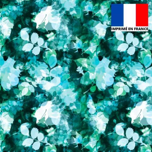 Tissu microfibre nuances de vert imprimé feuillage