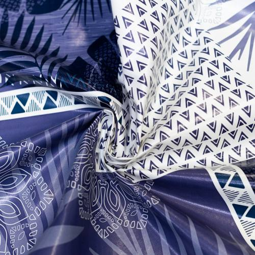 Toile cirée bleu marine motif feuille de palmier