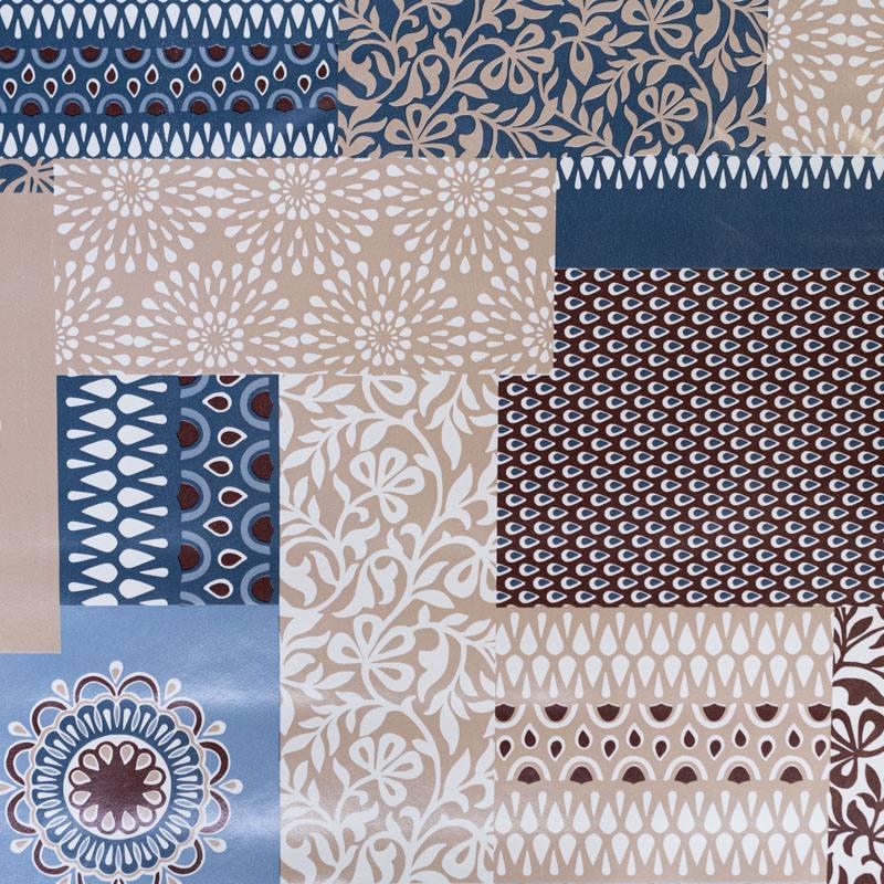 Toile cirée écrue motif yautra bleu et marron