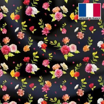 Satin noir motif bouquet de roses