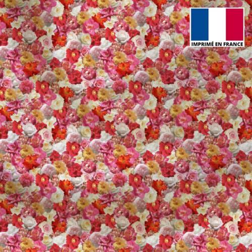 Satin motif mille et une fleurs roses et jaunes
