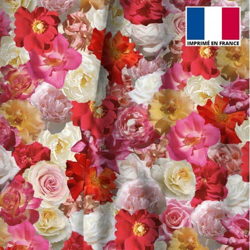 Velours motif mille et une fleurs roses et jaunes