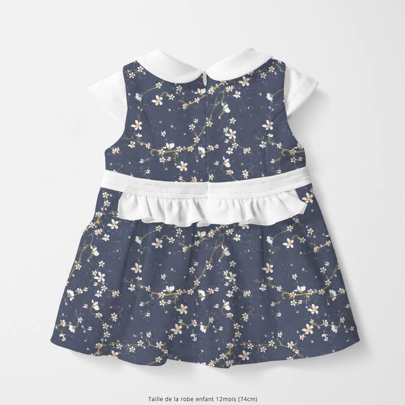 Coton bleu jean motif fleur de cerisier