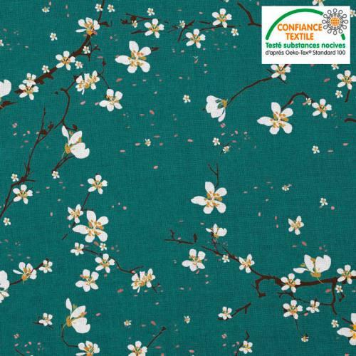Coton vert canard motif fleur de cerisier