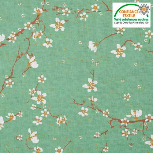 Coton vert céladon motif fleur de cerisier