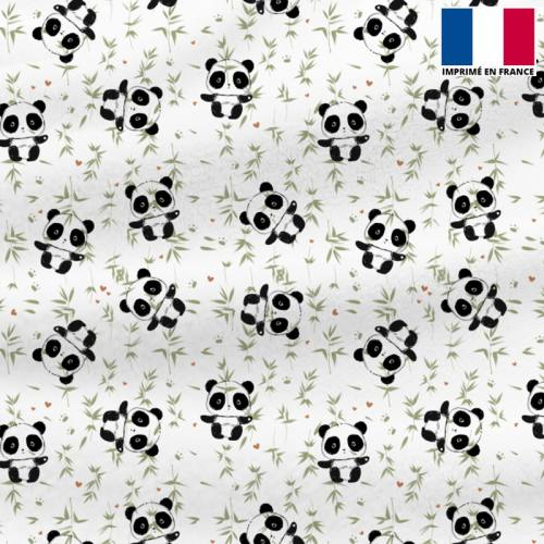 Polaire blanche motif panda et bambou vert