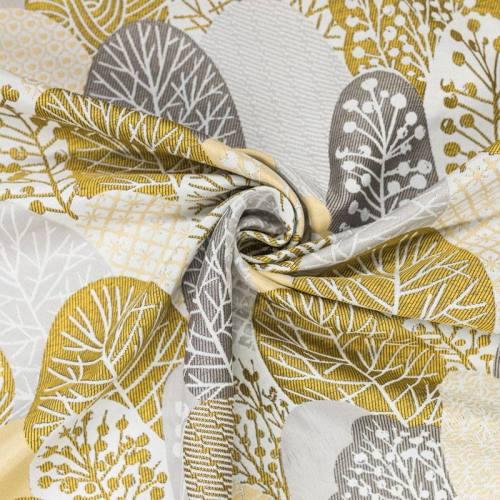 Coupon 50x68 cm - Jacquard blanc motif arbres style japonais or et argent