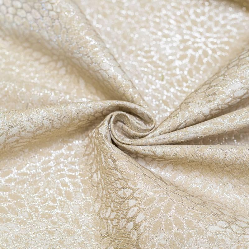 Coupon 50x68 cm - Tissu jacquard crème avec fil argenté