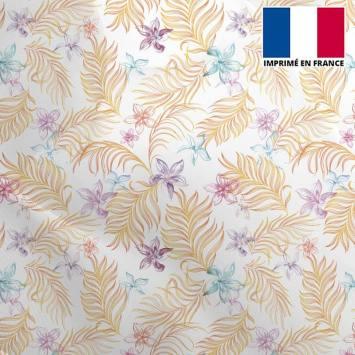 Mousseline crêpe écru motif feuille orange et fleur rose et bleue