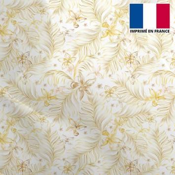 Mousseline crêpe écru motif feuille dorée et fleur orange