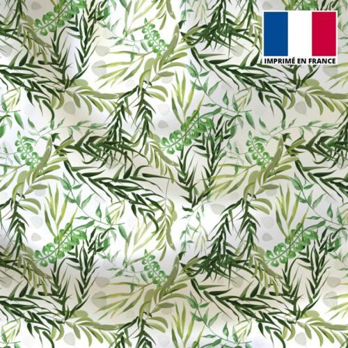 Satin écru motif feuillage vert