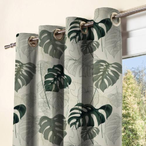 Tissu occultant grège motif jungle vert dessin et réaliste