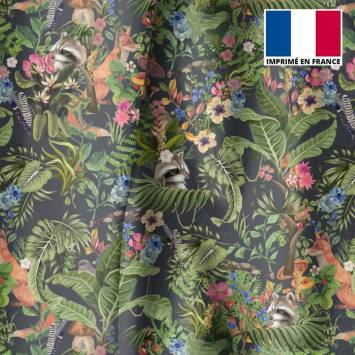 Velours ras bleu ardoise motif animaux des bois