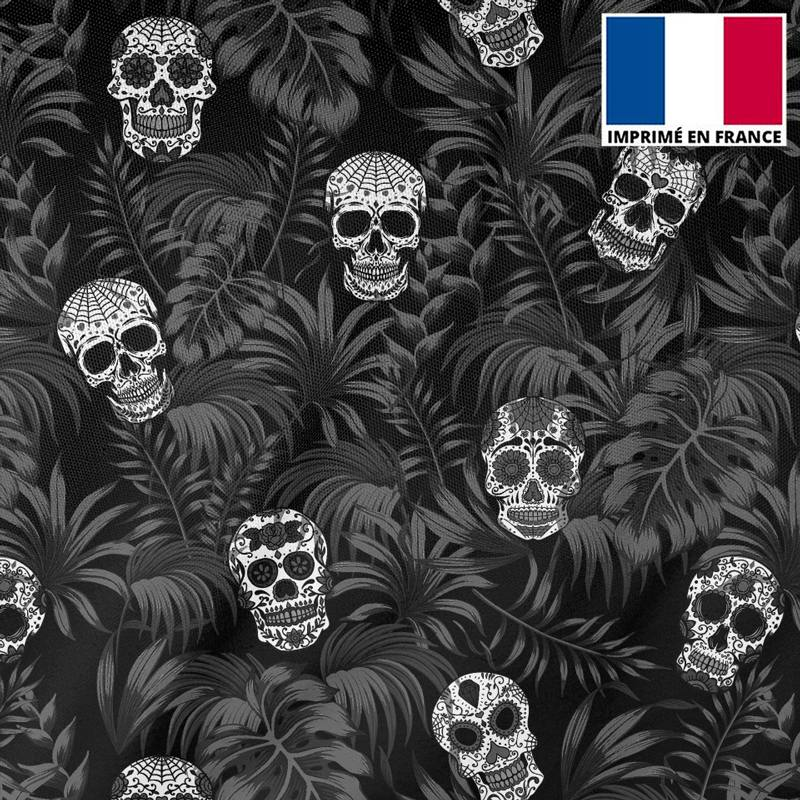 Tissu burlington noir imprimé jungle tête de mort gris