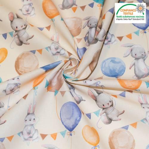 coupon - Coupon 75cm - Coton crème motif lapin et ballon