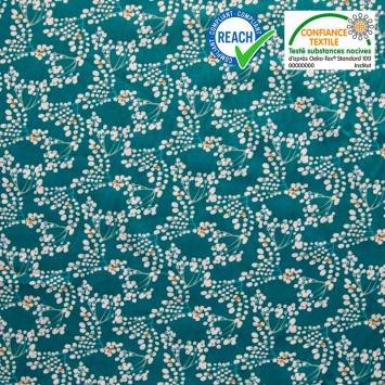 coupon - Coupon 43cm - Coton bleu canard motif yoichi