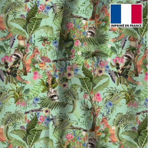 Velours vert d'eau motif animaux des bois