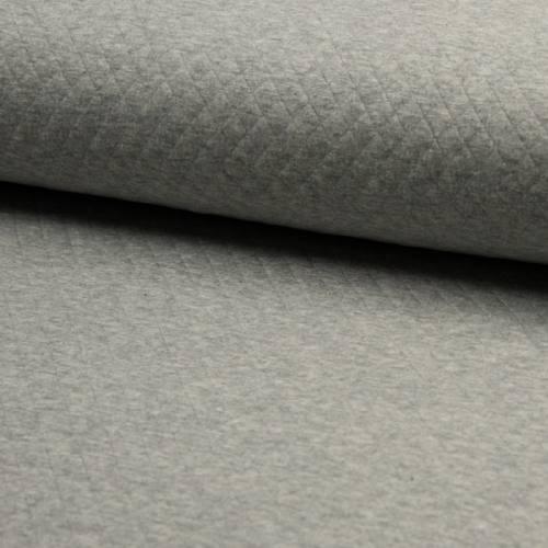 Jersey de coton matelassé gris chiné