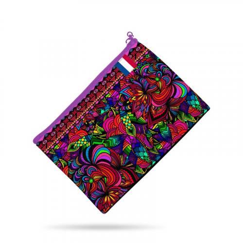 Kit pochette canvas multicolore motif grosse fleur rose effet brodé