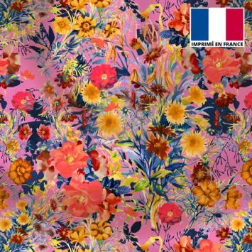 Satin rose motif bouquet de fleurs de champêtres