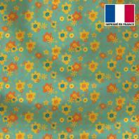 Satin vert motif fleur seventies jaune et orange