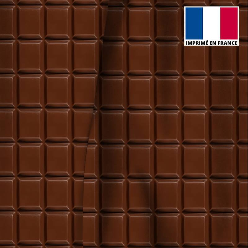 Velours ras marron motif tablette de chocolat