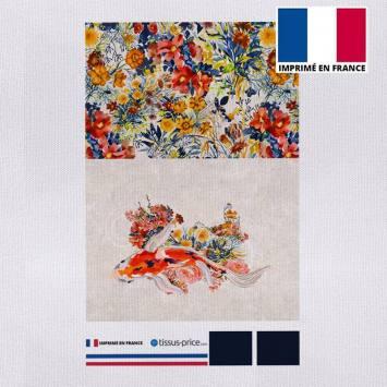Kit pochette canvas écru motif bouquet de fleurs champêtres