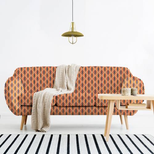 Velours ras orange motif forme géométrique rétro