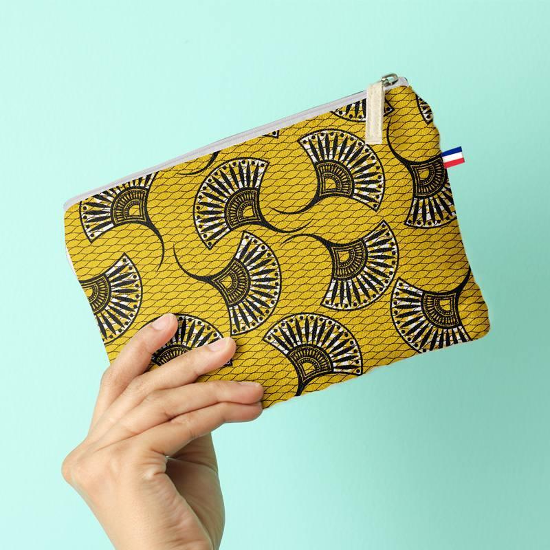 Kit pochette canvas jaune motif éventail wax