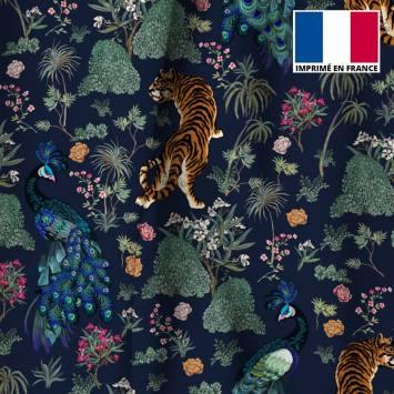 Velours ras bleu marine motif tiger japonais